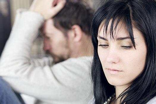 husband and wife sad